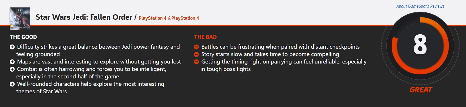 《星球大战绝地:陨落的武士团》评分解禁:IGN 9分 GS 8分 M站86