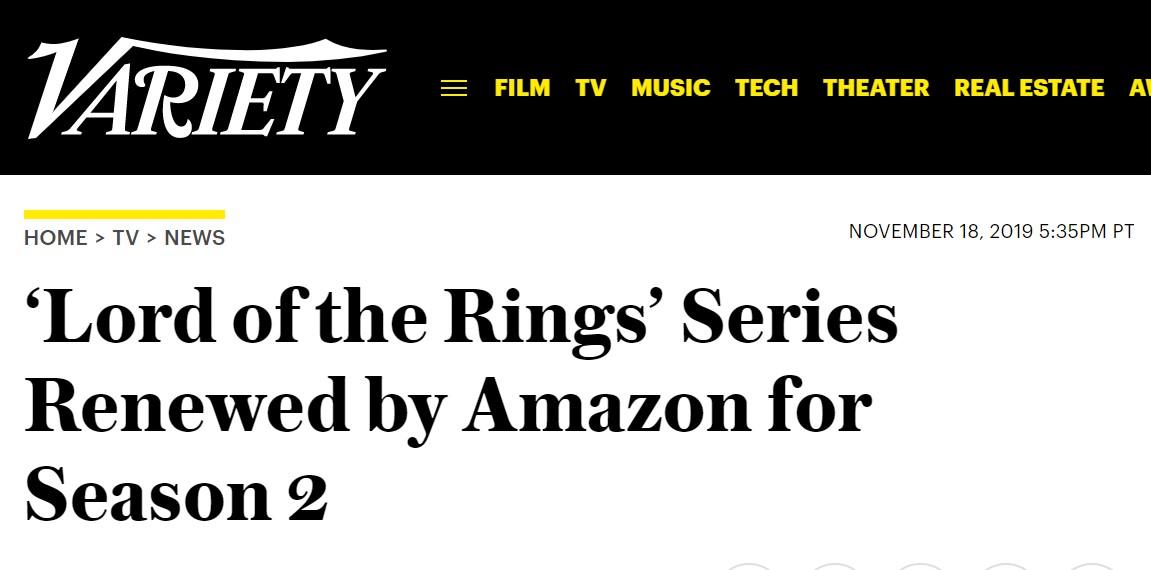 首季未开拍 最贵美剧《指环王》第二季已获续订