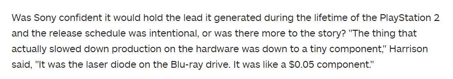 PS3为何比360晚一年?由于0.05美元的激光二极管