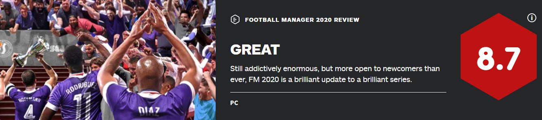 《足球经理2020》IGN 8.7 M站85分 最佳入坑作