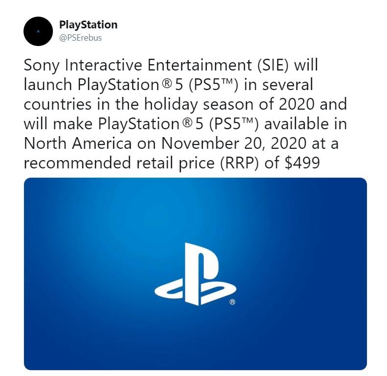 传闻:PS5将于明年11月20日发售 售价499刀标配2T固态