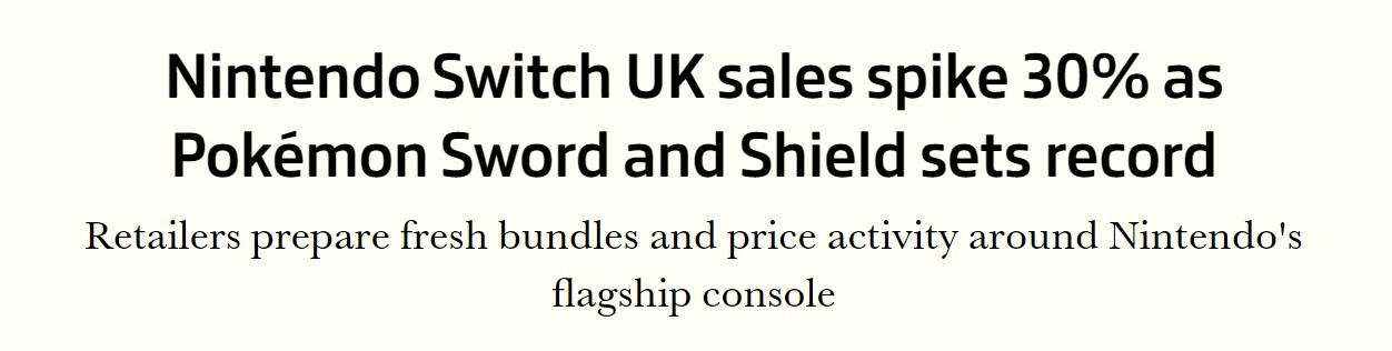 《宝可梦剑盾》英国销量破纪录 带动Switch销量大涨30%