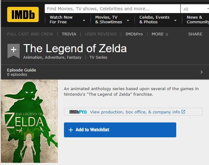 IMDb上出现《塞尔达传说》 或将推出系列动画