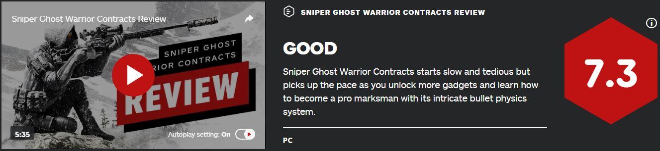 《狙击手:幽灵战士契约》IGN7.3分 M站均分71