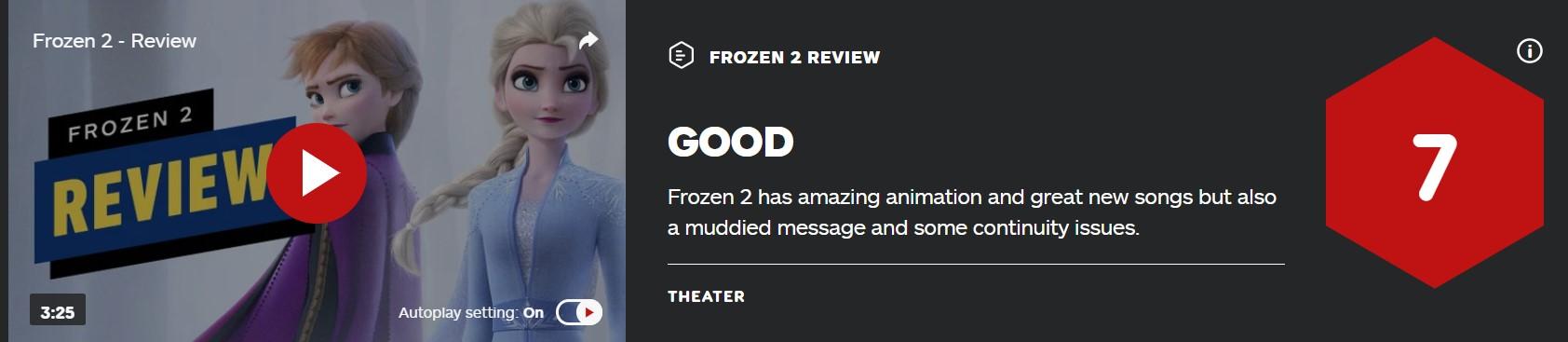 《冰雪奇缘2》IGN 7分:动画超赞新歌超棒 但问题不少
