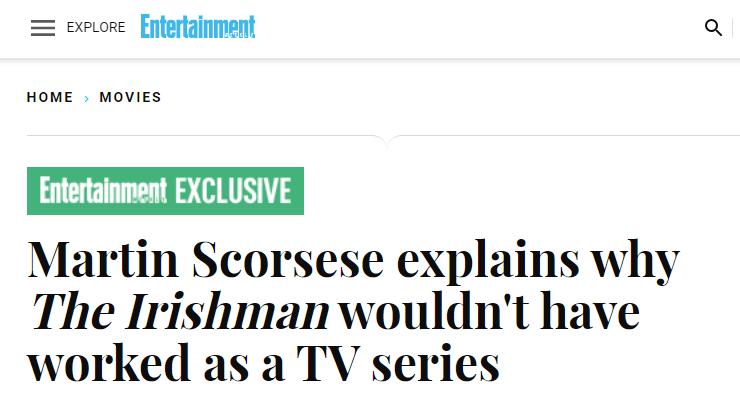 马丁·斯科塞斯:不考虑将《爱尔兰人》改编为连续剧集