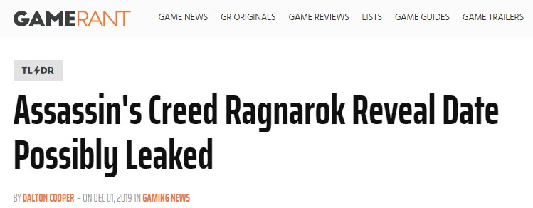传闻:新作《刺客信条:诸神黄昏》或与PS5同时发布