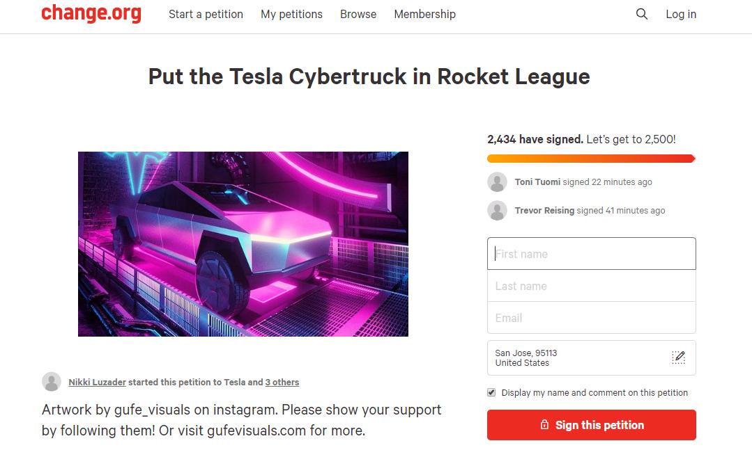 《火箭联盟》玩家发起请愿 要将特斯拉电动皮卡加入DLC