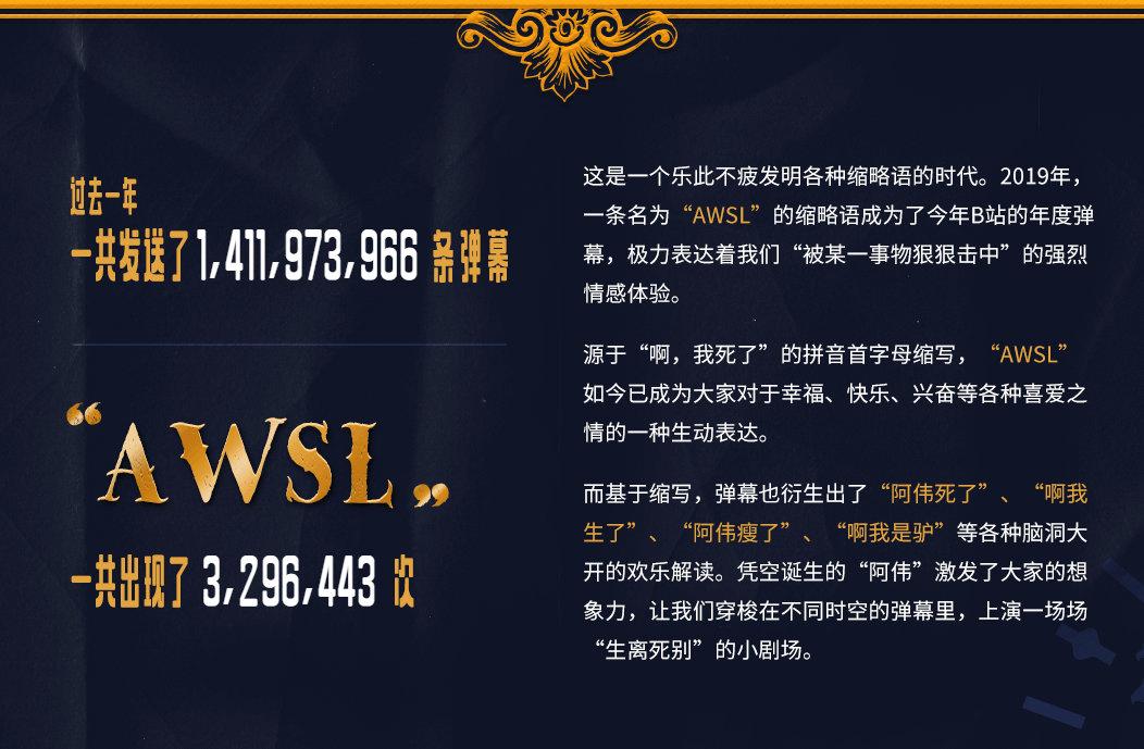 B站公布2019年度弹幕:AWSL 一年发送次数达3296443次