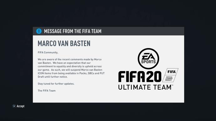 口无遮拦! EA从《FIFA20》中下架传奇球星范巴斯滕