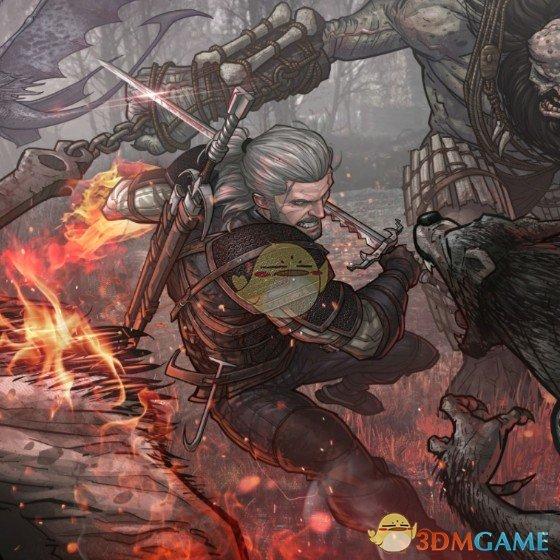 《Wallpaper Engine》漫画风巫师3战斗中的杰洛特动态壁纸