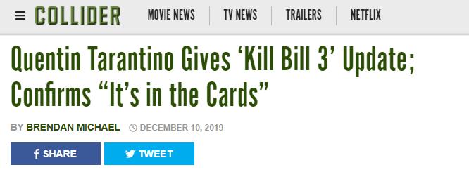 昆汀《杀逝世比尔3》很能够会拍 与乌玛·瑟曼冰释前嫌