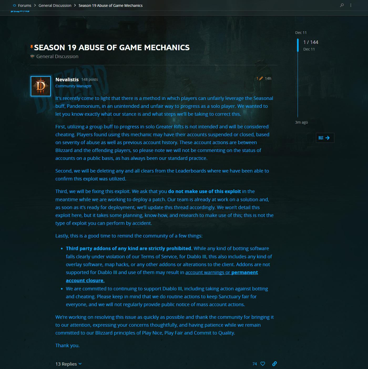 玩家滥用《暗黑3》赛季Buff获益 将遭严厉惩处