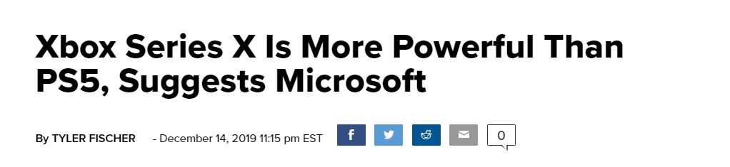 微软或暗示:新主机Xbox Series X性能强于PS5