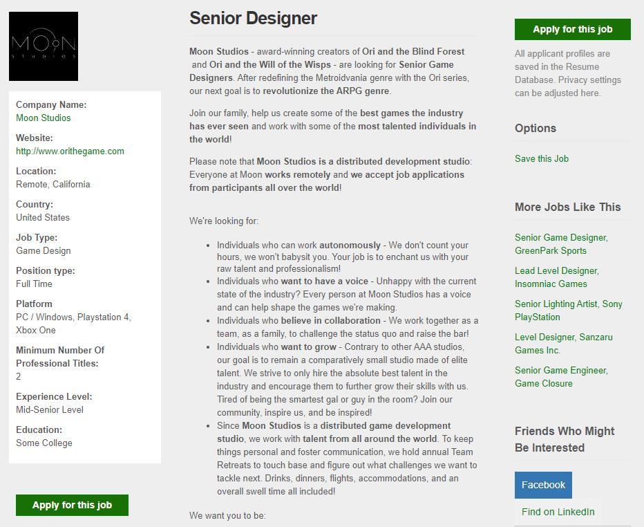 《奥日与萤火意志》开发商为完全新作招工 要掀起ARPG革命