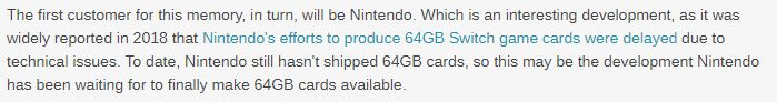 Switch主机或将在2020年下半年迎来64G游戏卡带