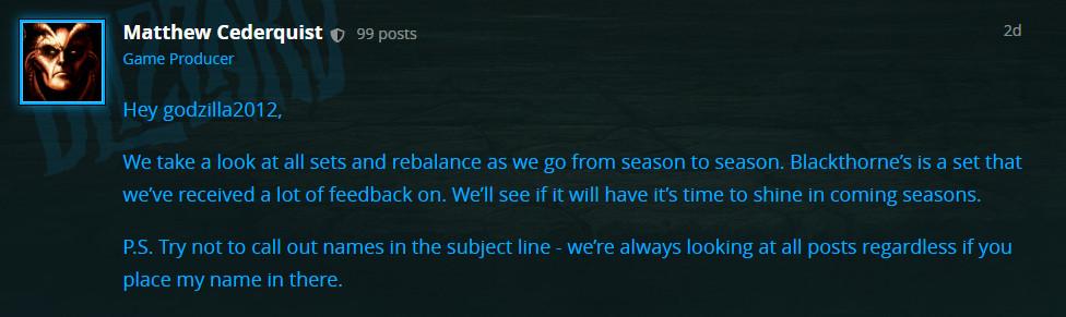 《暗黑3》制作人暗示 黑荆棘套装有望在将来被加强