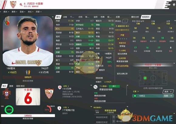 《足球经理2020》丹尼尔卡里索属性介绍一览