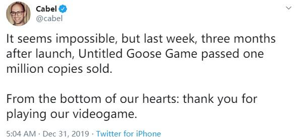 《無名大鵝》銷量突破100萬份 據發售僅過去3個月