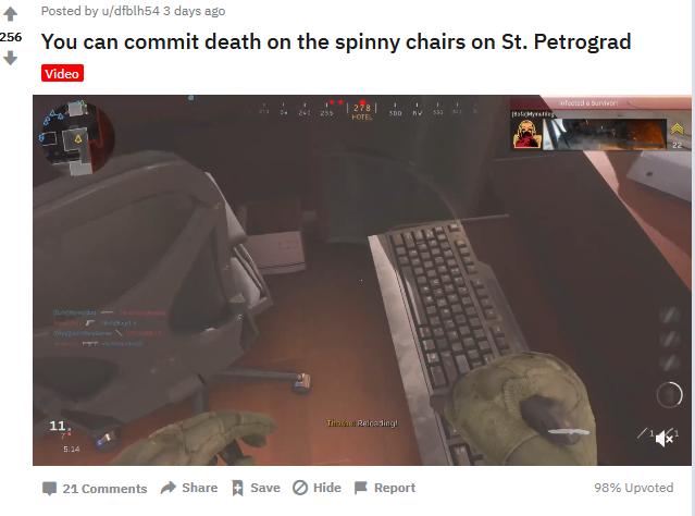 《COD16》玩家角色又突然暴毙 这次凶手竟然是椅子?