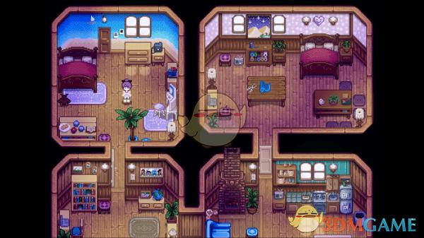 《星露谷物语》蓝色调室内装潢MOD