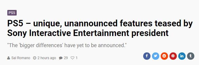 索尼互娱CEO:PS5还有许多特色功能尚未揭晓