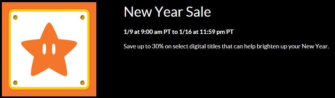 任天堂美服开启新年特惠 《马里奥赛车8》等大量作品促销