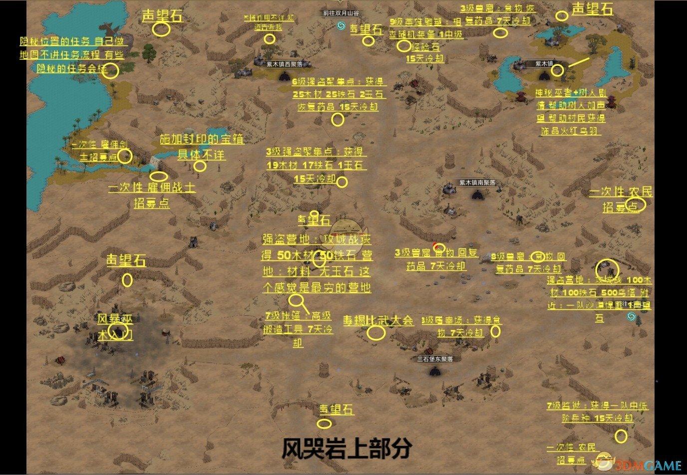《部落与弯刀》风哭岩超详细资源任务地图分享