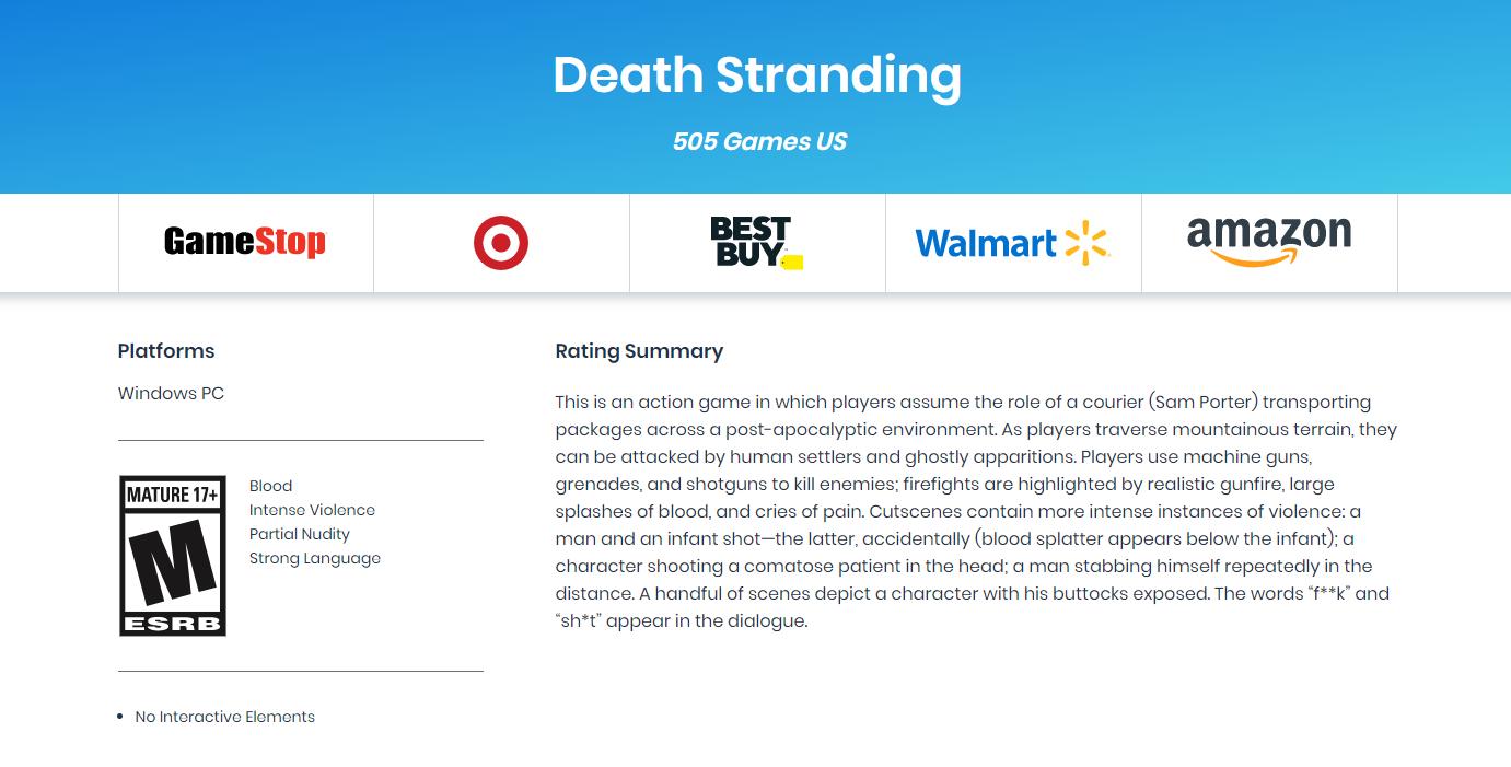 《死亡搁浅》PC版分级已完成 预定于今年夏初发售