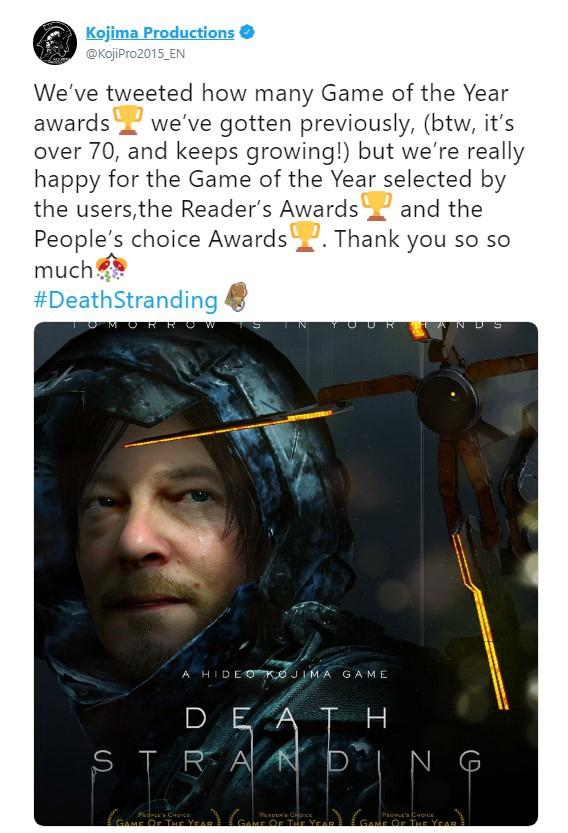 《死亡搁浅》现已收获70个年度最佳游戏
