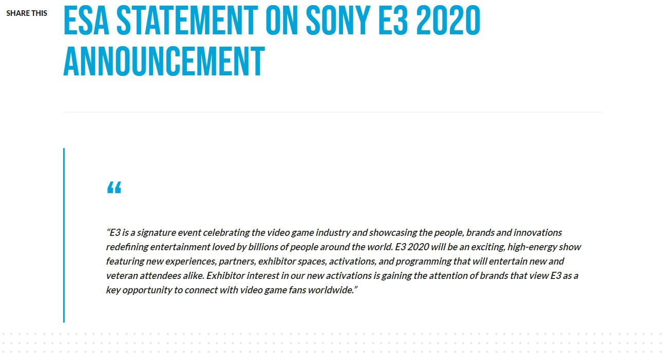 传言成真!索尼官方确认不参加E3 2020