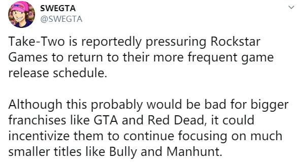 8年开发期太长!传R星被强迫更频繁地推出游戏