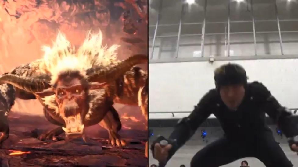 《怪猎世界:冰原》金狮子VS麒麟 幕后动捕花絮