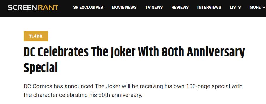 丑爷诞生80年!DC四月将推出百页纪念特刊漫画
