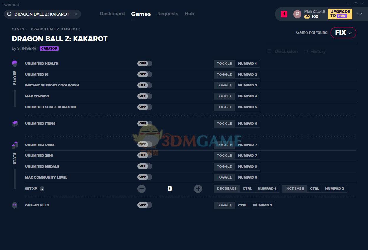 《龙珠Z:卡卡罗特》v1.03十二项修改器[MrAntiFun]