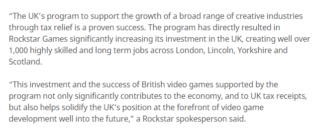 R星官方回应避税质疑 称英国税免政策是可见的成功