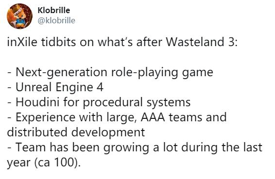 《廢土3》開發商打造次世代RPG游戲 虛幻4開發