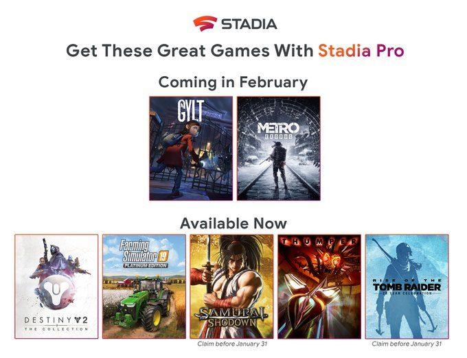 Stadia Pro會員下月可獲《GYLT》和《地鐵:逃離》