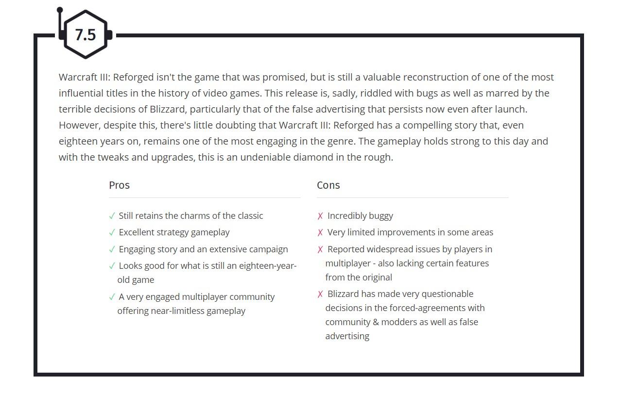 《魔兽争霸3:重制版》wccftech 7.5分 M站均分63 用户评分0.7