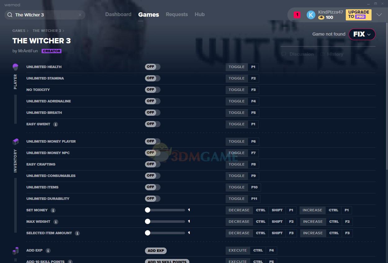 《巫师3:狂猎》v2020.02.01二十六项修改器[MrAntiFun][Steam]