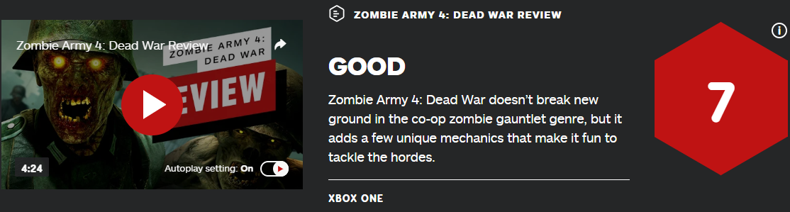 《僵尸部队4:亡灵大战》IGN7分 开局15分钟演示公开