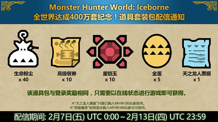 庆祝1500万出货达成!《怪物猎人:世界》道具套装包限时赠送