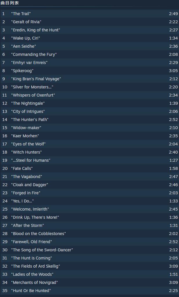 《巫师》全系列原声上架Steam平台 一部售价30多