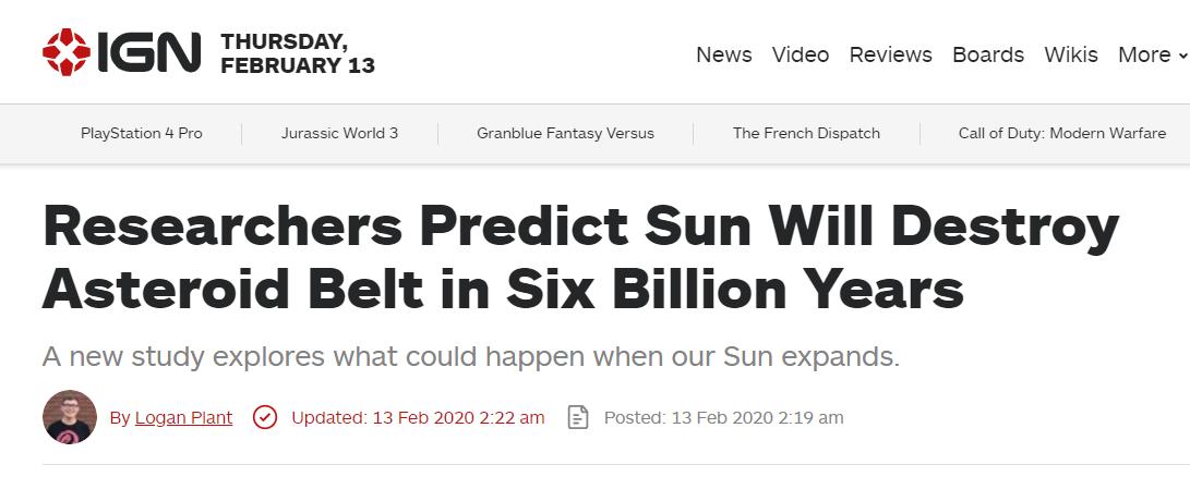 国外研究:太阳将在60亿年后摧毁小行星带