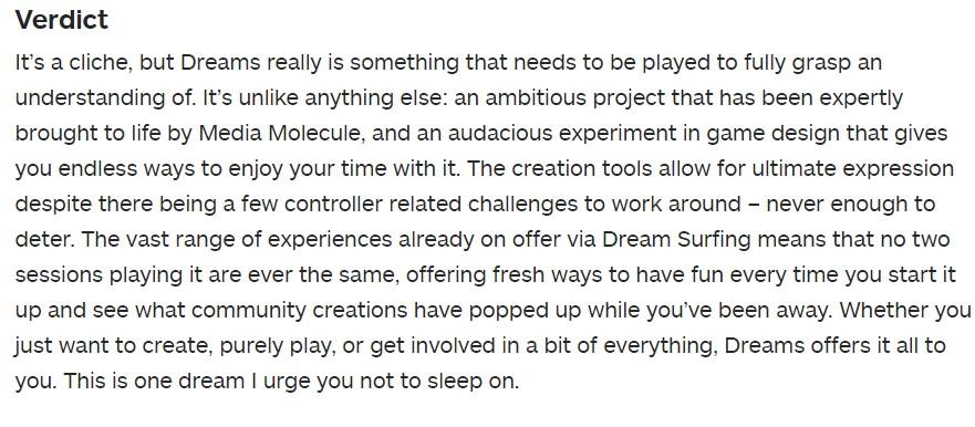 《梦境》获得IGN评分9分 创造无限的神奇世界