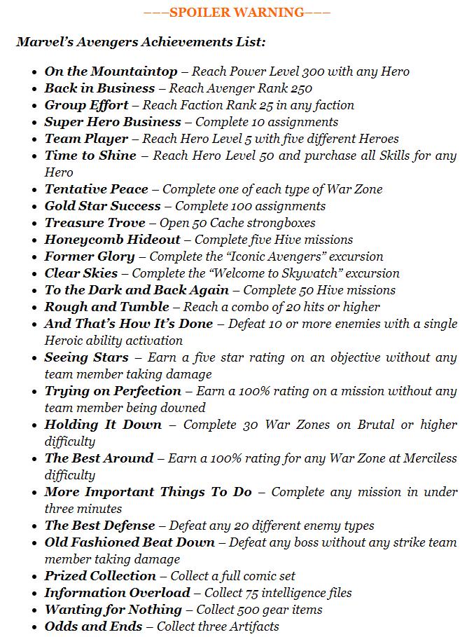 网曝《漫威复仇者联盟》成就列表 最终Boss为魔多客克里人
