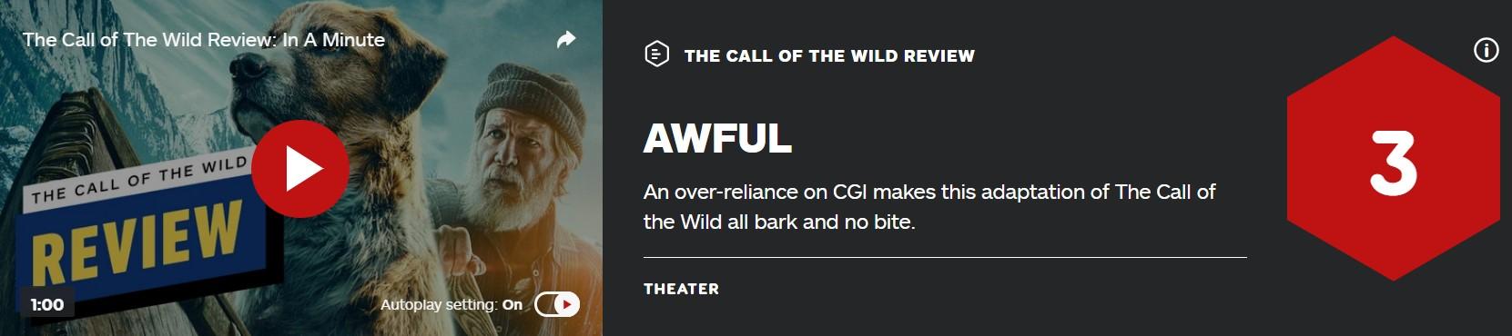 新版《野性的呼唤》IGN仅3分 烂番茄72% M站54分
