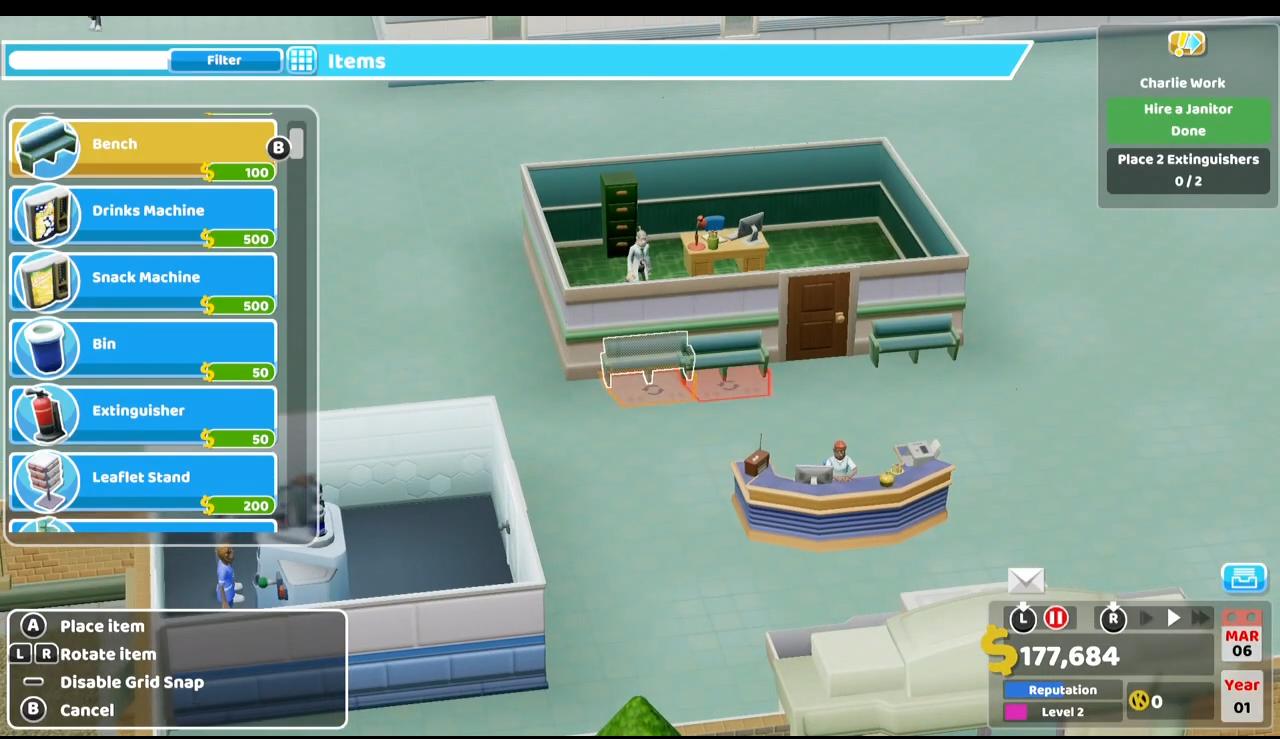 《双点医院》NS版30分钟试玩 在掌上也能打造医院帝国