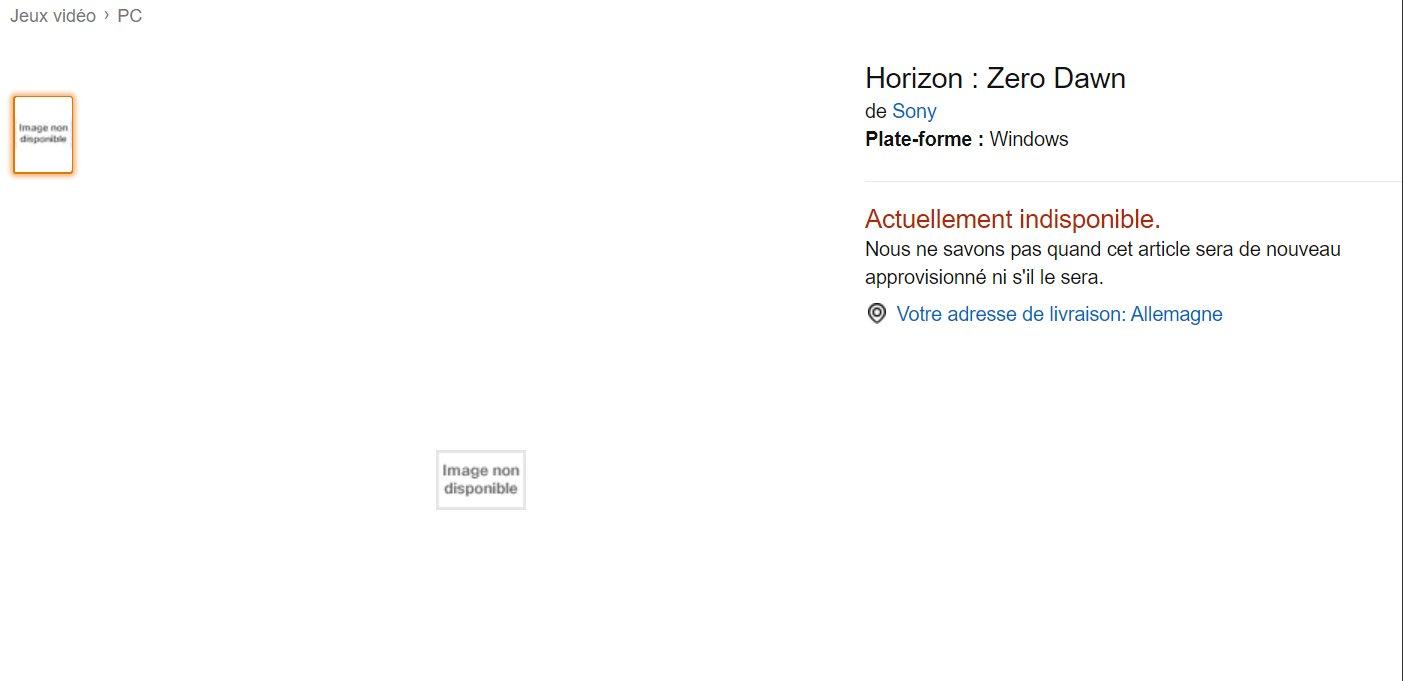不再是独占?亚马逊法国上架《地平线:黎明时分》PC版