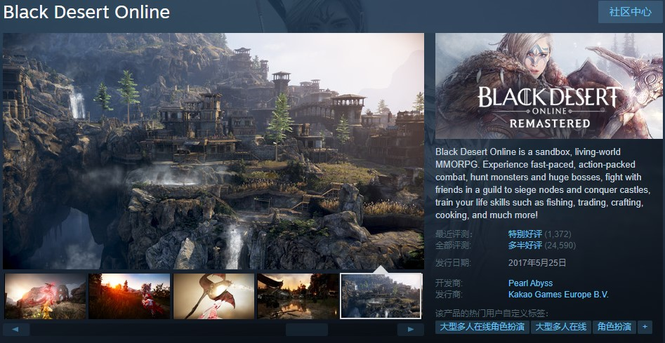韩国网游《黑色沙漠》Steam免费领 不过锁国区